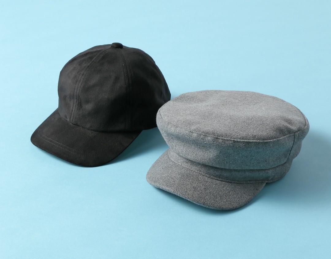 スイートヴィンテージの仕上げに、カジュアルな秋素材帽子