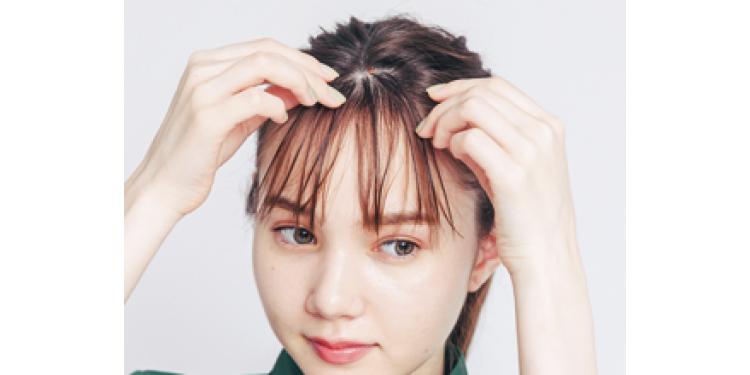 3 前髪の表面にヘアオイルを