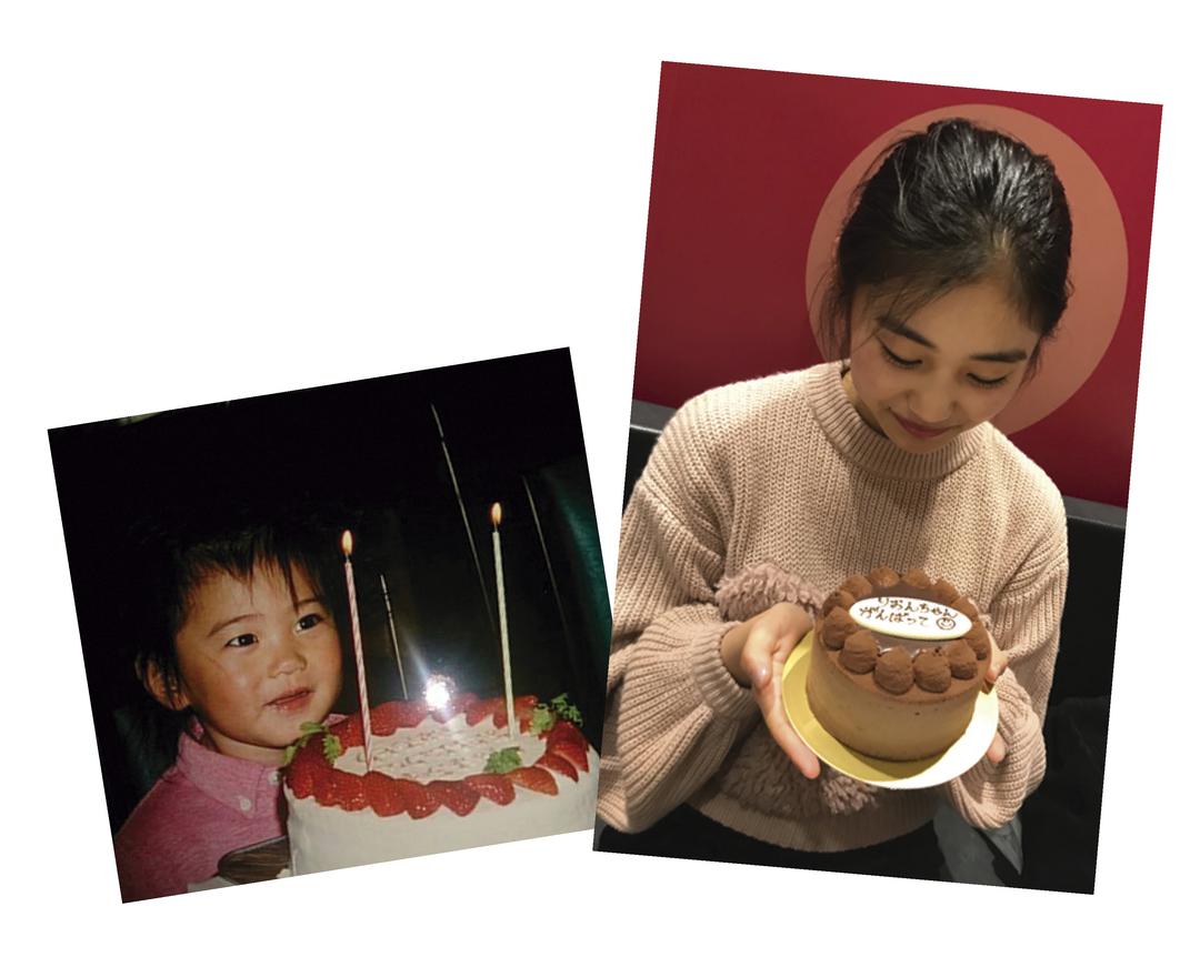 岡本莉音ちゃんは「お祝いケーキ」
