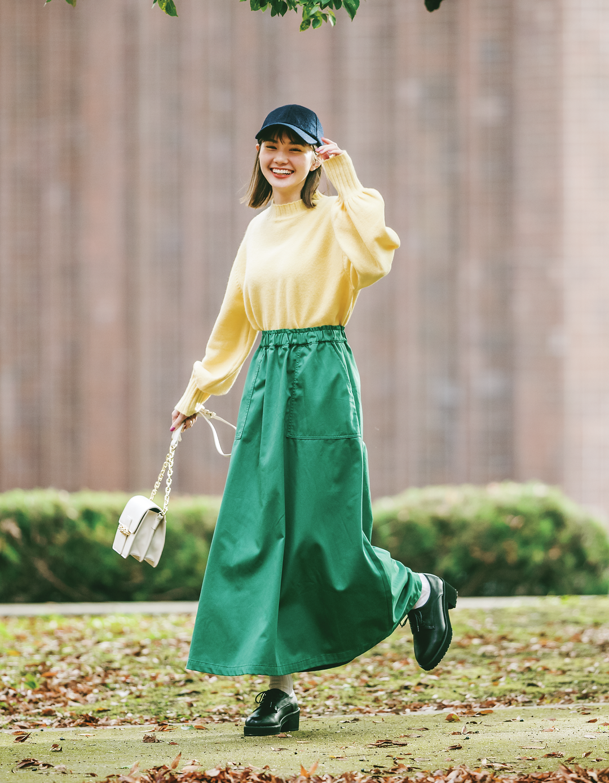 マーシュはグリーンスカートを春色合わせでHAPPYコーデ
