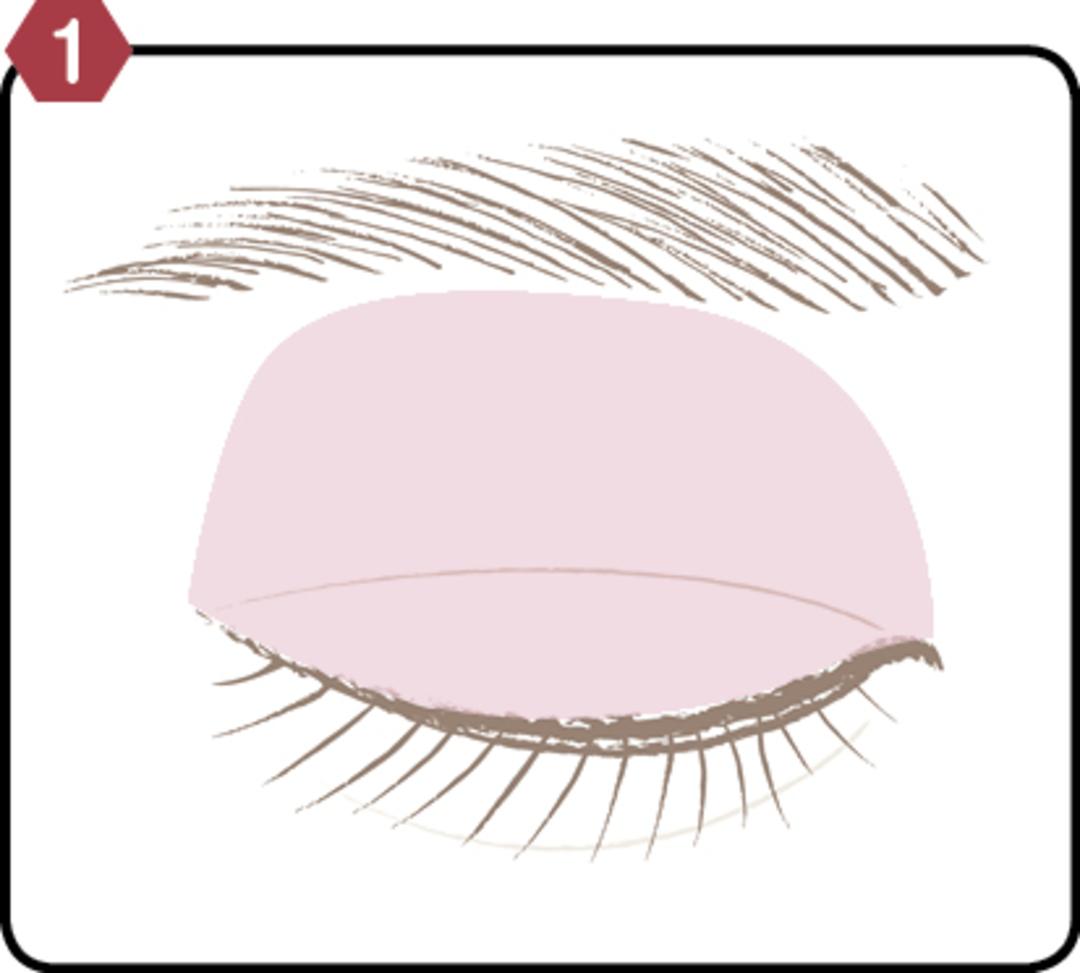 目の上全体に薄いピンク色を