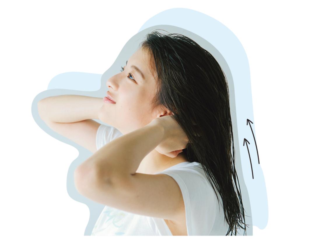 【POINT 3】シャンプーはえりあしから上に向かって、地肌を洗う!