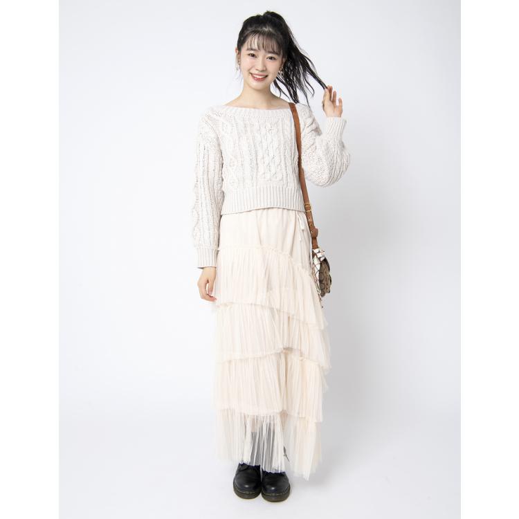 チュールスカートのオールホワイト by仁香